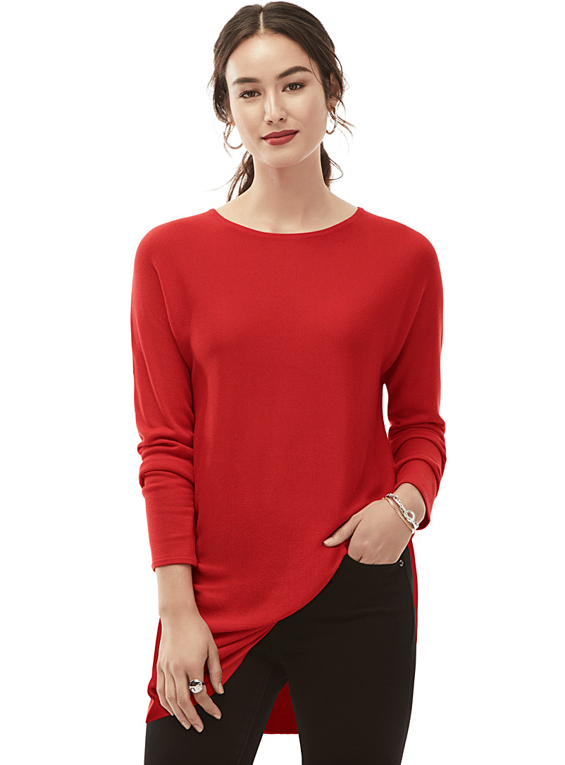 La tunique tricot bord arrondi - Pulls - Rouge