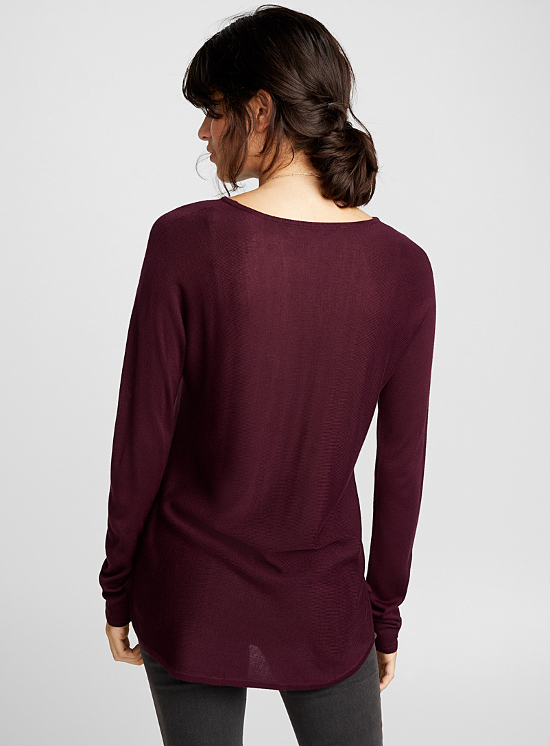 Rounded-hem knit tunic - Sweaters - Ruby Red