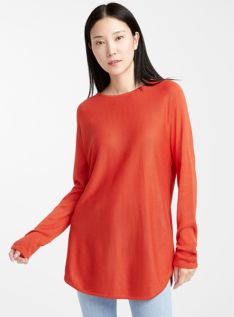 Contemporaine Orange Rounded-hem knit tunic for women