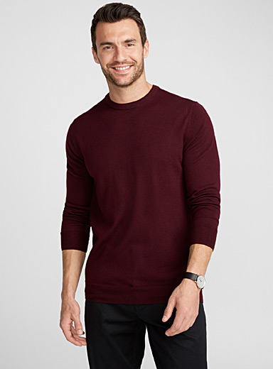 Crew-neck merino wool sweater