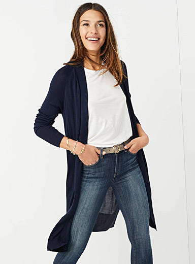Long soft-knit cardigan