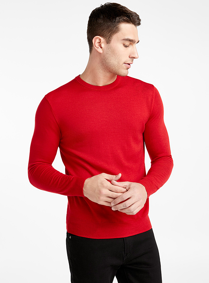 Le 31 Bright Red Merino wool crew-neck sweater for men