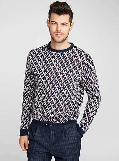 Geometric jacquard merino sweater