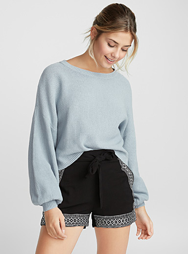 Bouclé bubble sleeve sweater