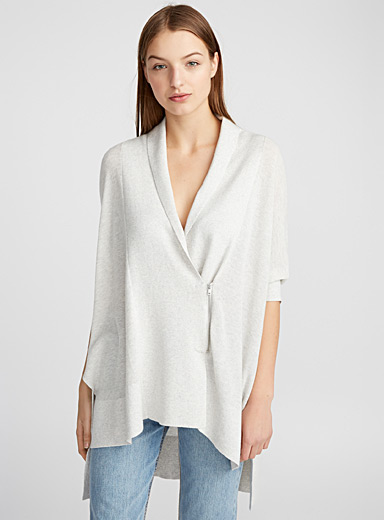 Zipped cape cardigan