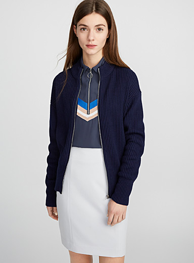 Zip ribbed cardigan