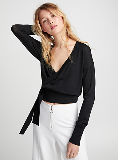 Side-tie wrap-style sweater