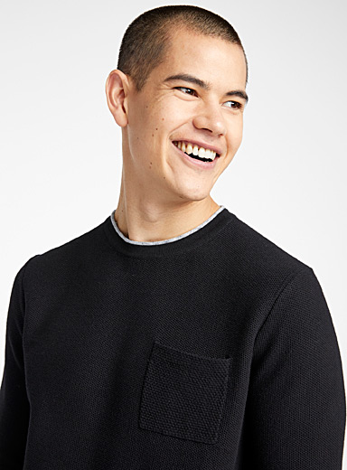 Accent collar piqué sweater