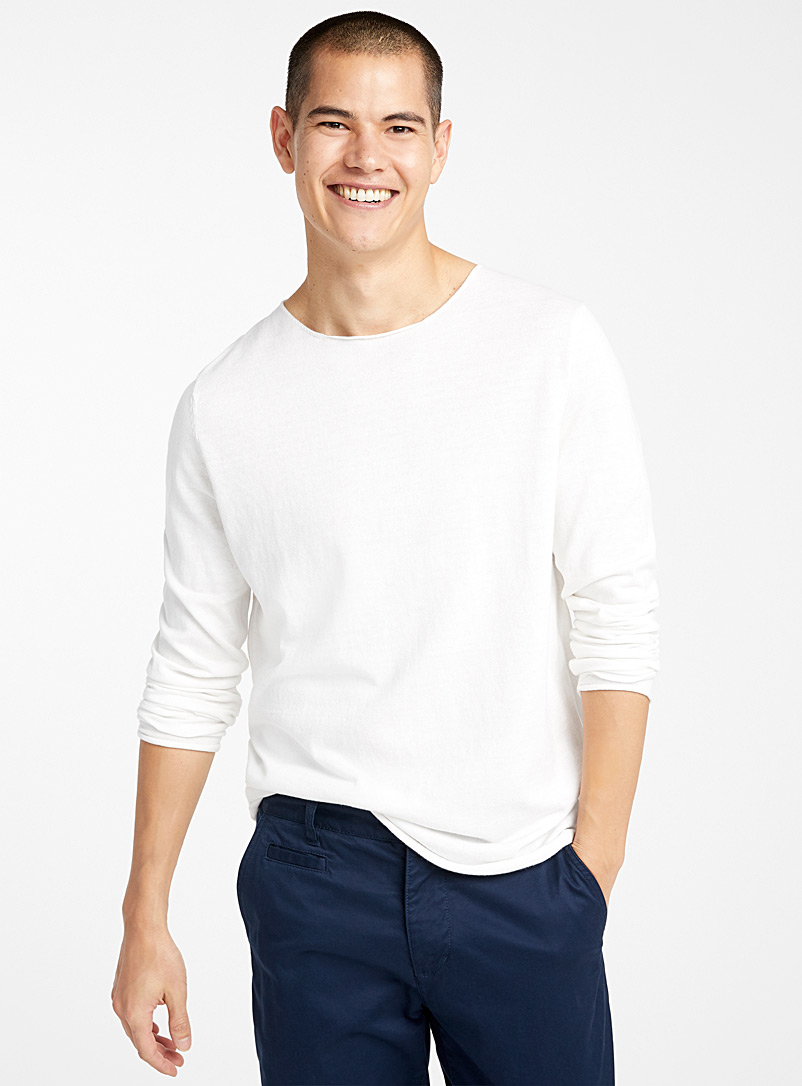 Le 31 Ivory White Rolled-trim sweater for men