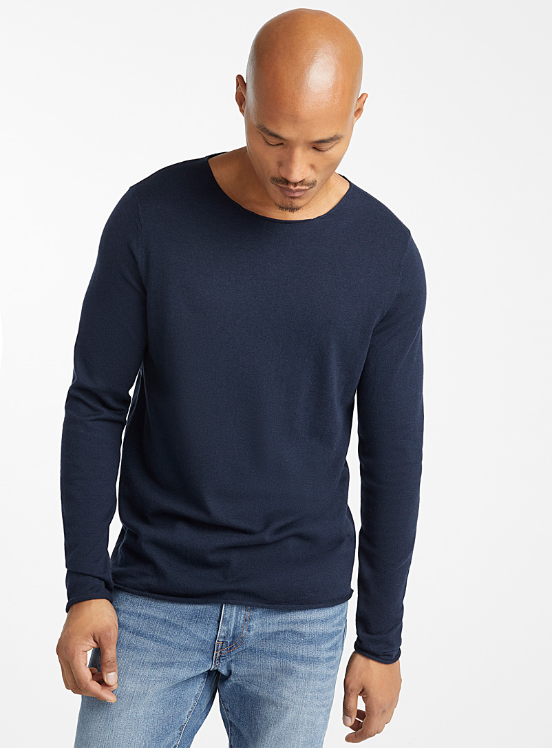 Le 31 Marine Blue Rolled-trim sweater for men
