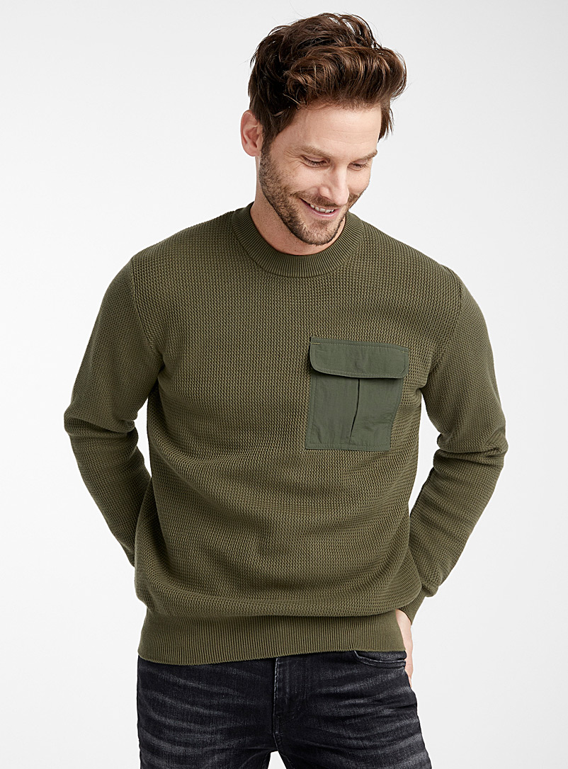 Le 31 Mossy Green Nylon-pocket sweater for men