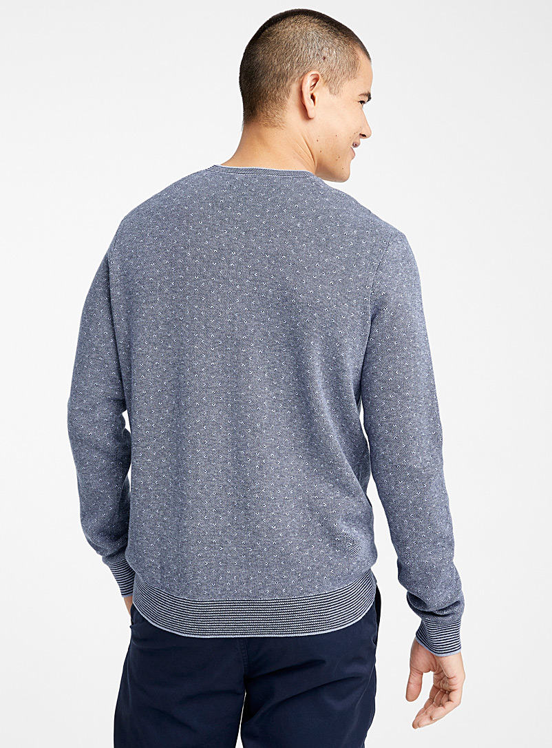 Le 31 Slate Blue Modal and cotton jacquard sweater for men