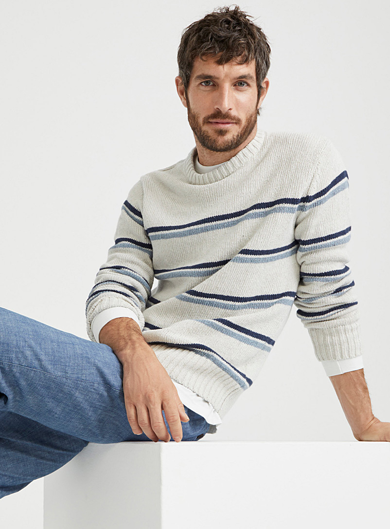 Le 31 Ecru/Linen Recycled denim knit sweater for men