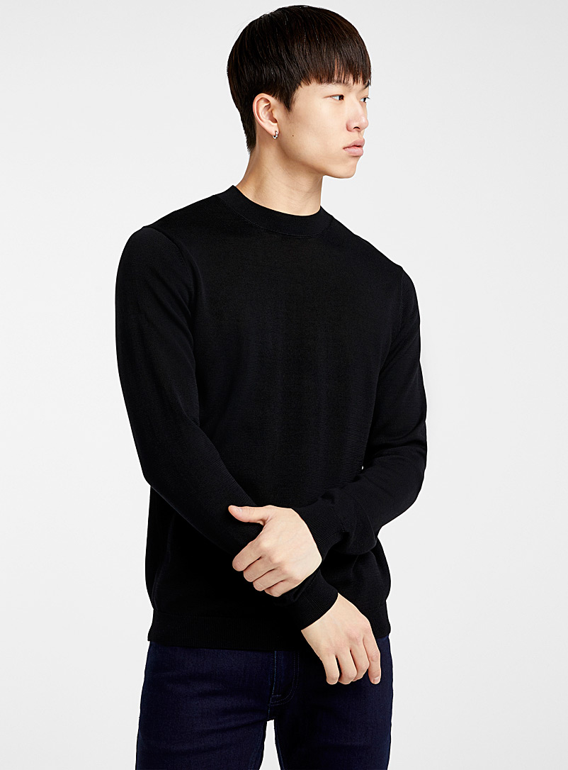 Le 31 Black Mercerized knit sweater for men