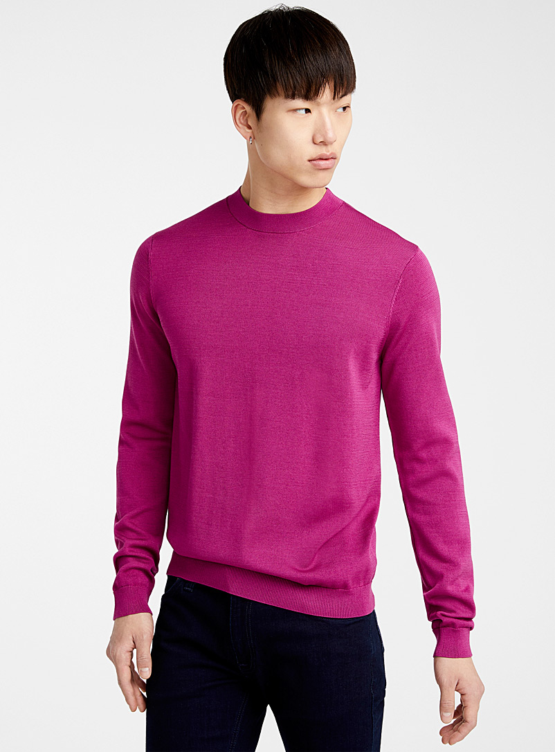 Le 31 Bright Red Mercerized knit sweater for men