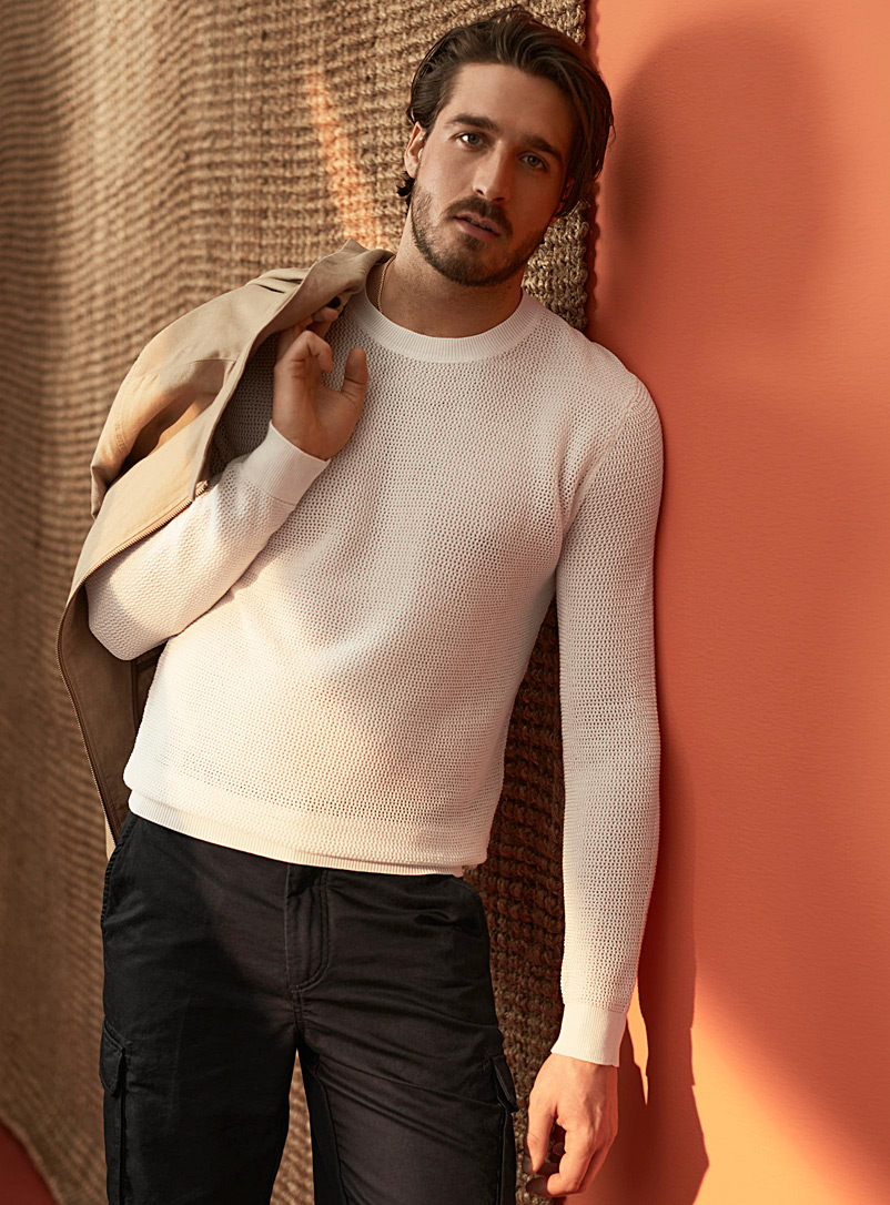 Le 31 Ivory White Openwork mercerized cotton sweater for men