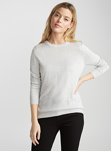 Shiny-knit crew neck sweater