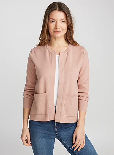 Patch pocket open cardigan