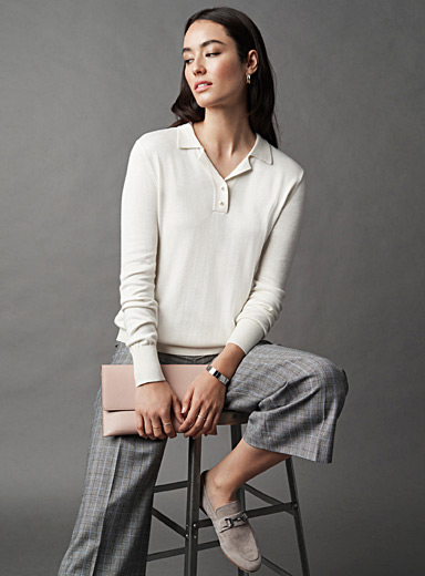 Pearly polo-collar sweater
