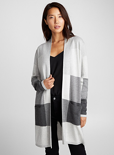 Block check open cardigan