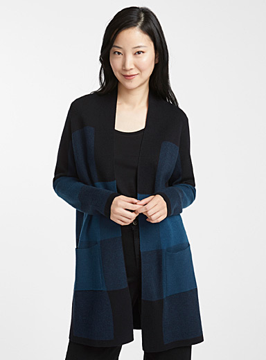 Long block check cardigan