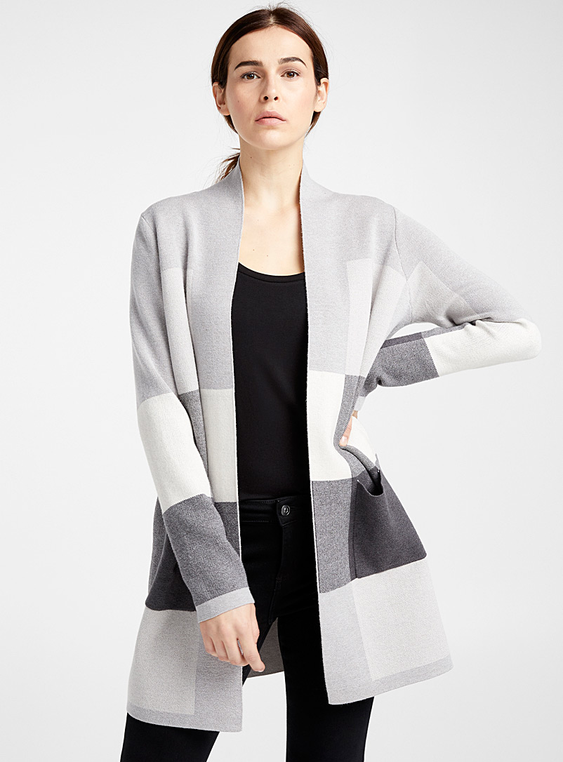 Le long cardigan carreaux blocs - Cardigans - Gris pâle