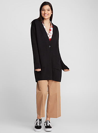 Long single-button cardigan