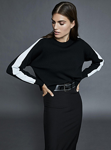 Cropped athletic sweater