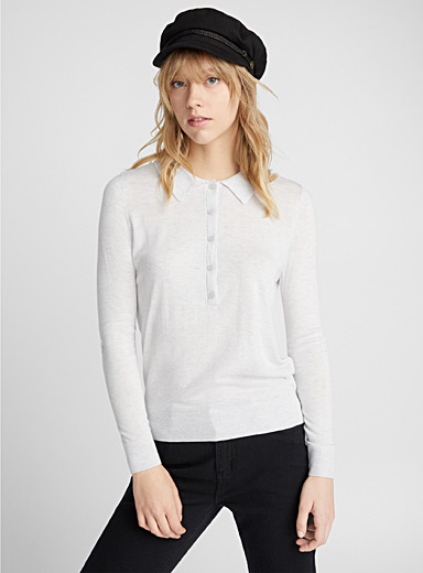 Soft knit long-sleeve polo