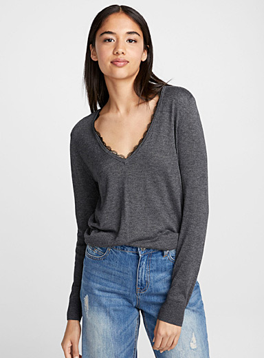 Lace accent V-neck sweater