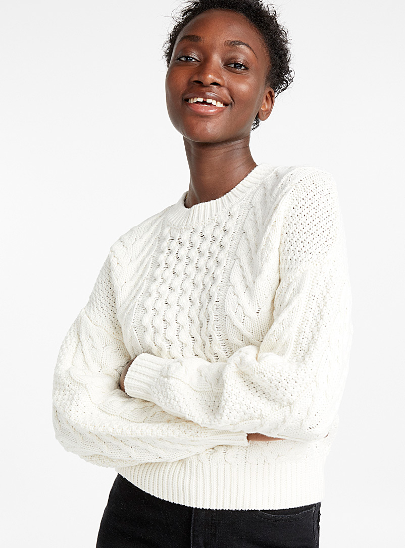 Wave-and-braid sweater - Sweaters - Cream Beige