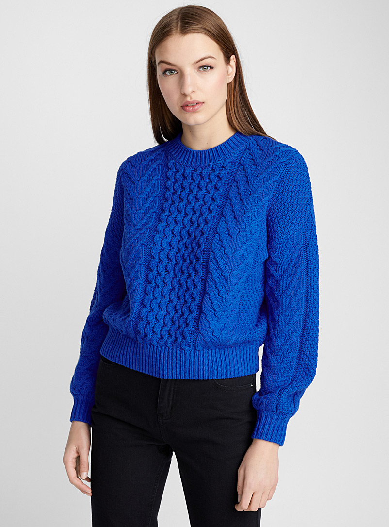 Wave-and-braid sweater - Sweaters - Sapphire Blue