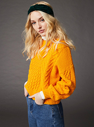 Wave-and-braid sweater