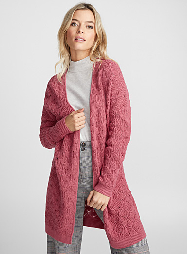 Long wavy-ribbed cardigan