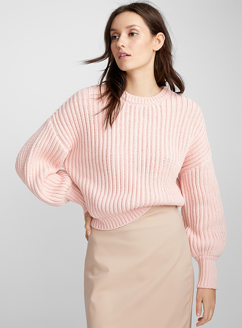 Balloon-sleeve cropped sweater - Sweaters - Dusky Pink