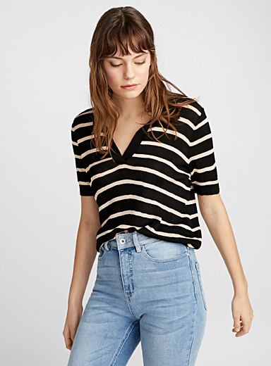 Open polo collar striped sweater