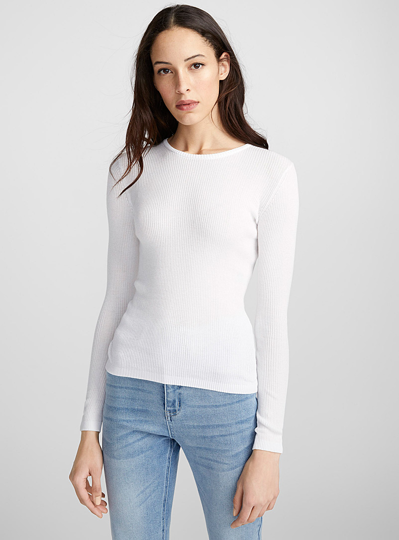 Cotton-modal ribbed sweater - Sweaters - White