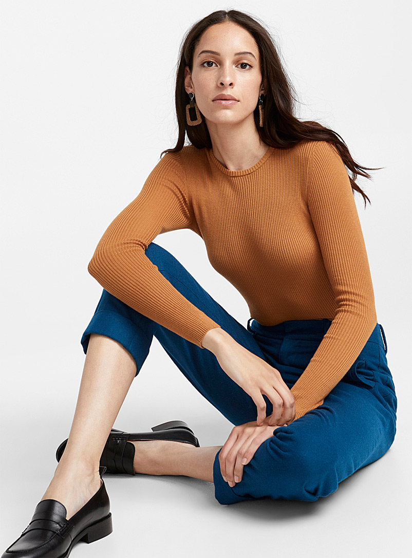 Cotton and TENCEL modal ribbed sweater - Sweaters - Honey