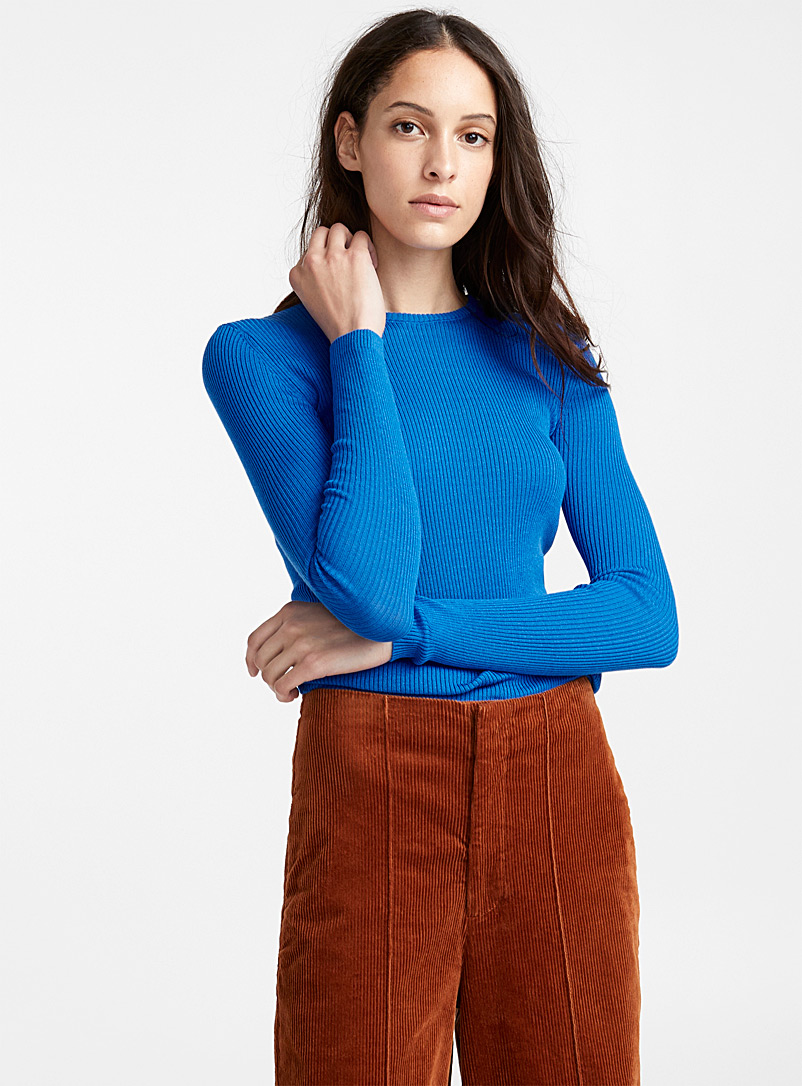 Cotton and TENCEL modal ribbed sweater - Sweaters - Sapphire Blue