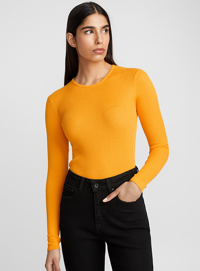 Cotton-modal ribbed sweater - Sweaters - Golden Yellow