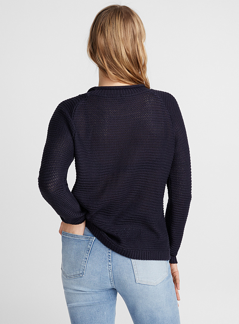Icône Marine Blue Wavy ribbed sweater for women