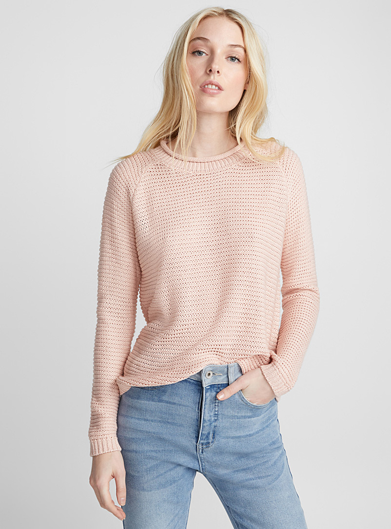 Ic?ne Dusky Pink Wavy ribbed sweater for women