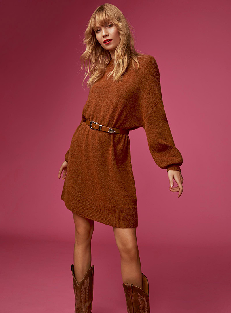 Icône Copper Loose mohair knit dress for women
