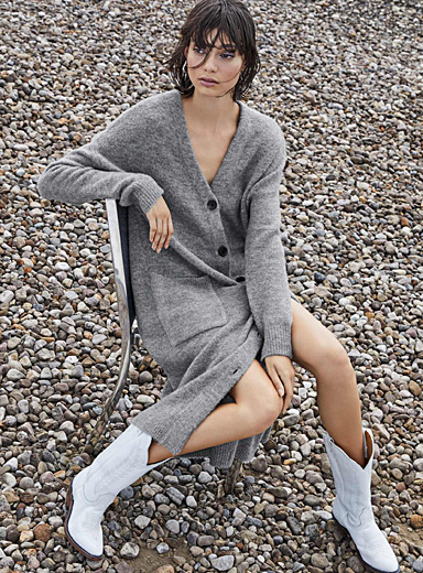 Mohair knit cardigan dress