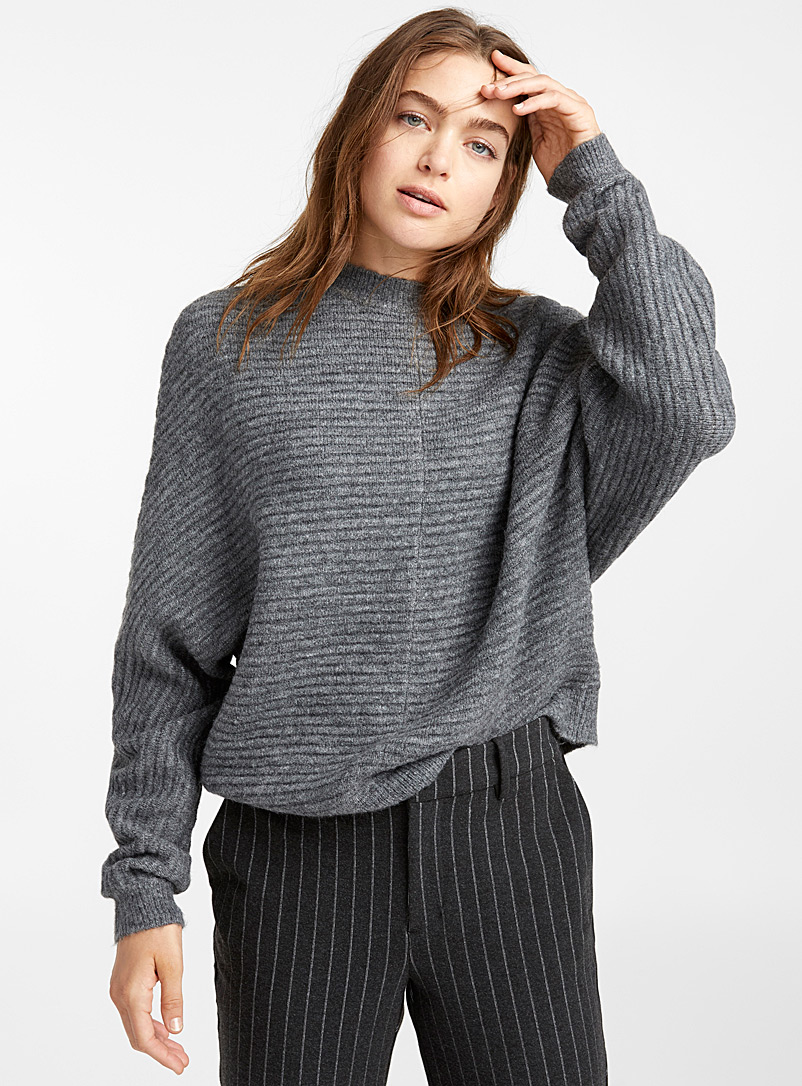 Brushed ottoman sweater - Sweaters - Charcoal