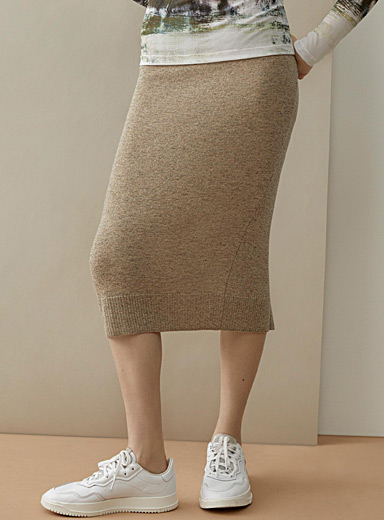Cashmere touch tube skirt