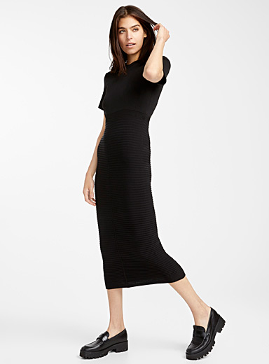Ottoman ribbed knit dress