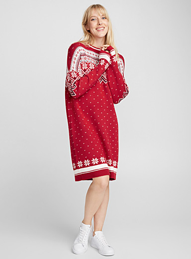 Nordic jacquard sweater dress