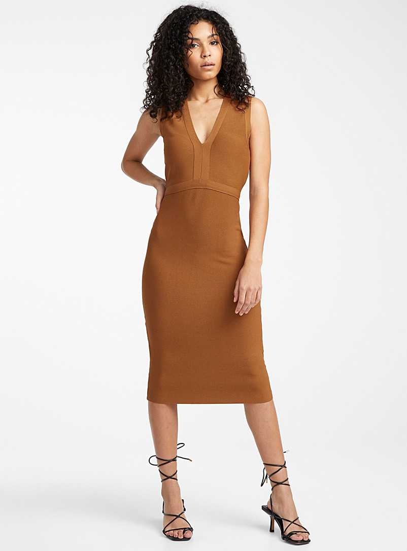 Icône Copper Techno knit V-neck dress for women