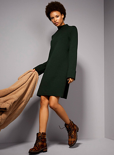 Wide-cuff high neck dress